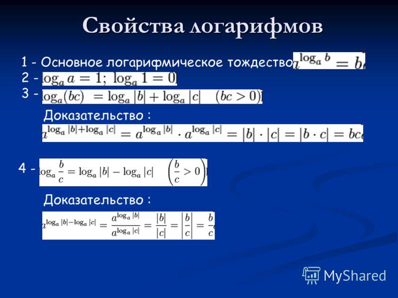 Свойства логарифмов 1 - Основное логарифмическое тождество: 2 - 3 - Доказательство : 4 - Доказательство :