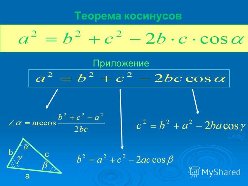 Теорема косинусов Приложение a b c