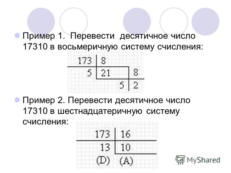 Пример 1. Перевести десятичное число 17310 в восьмеричную систему счисления: Пример 2. Перевести десятичное число 17310 в шестнадцатеричную систему счисления: