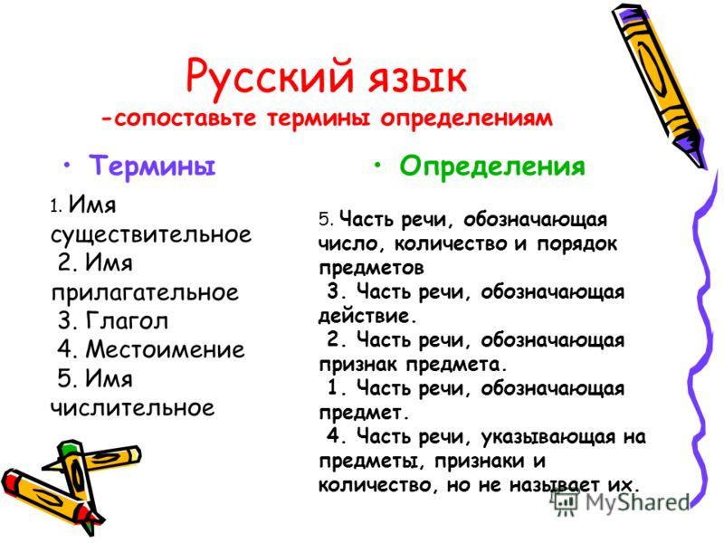 Русский язык -сопоставьте термины определениям ТерминыОпределения 1. Имя существительное 2. Имя прилагательное 3. Глагол 4. Местоимение 5. Имя числительное 5. Часть речи, обозначающая число, количество и порядок предметов 3. Часть речи, обозначающая
