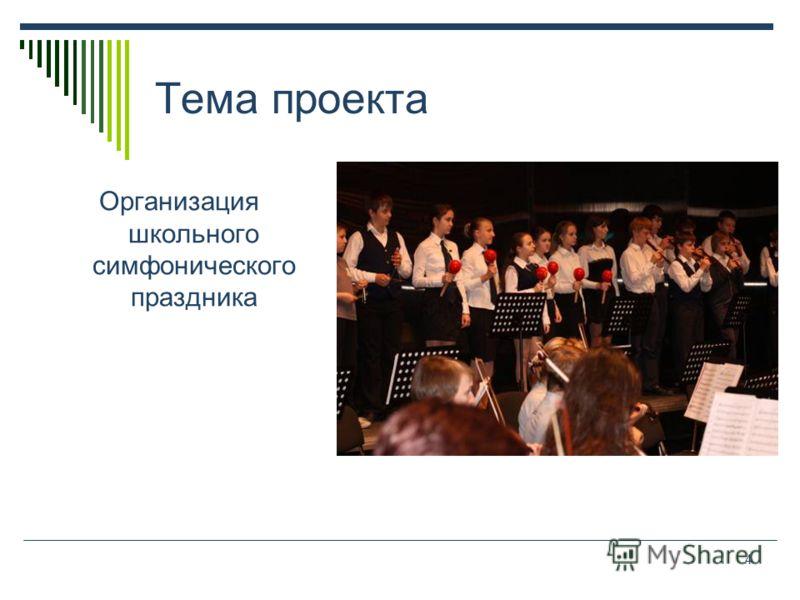 4 Тема проекта Организация школьного симфонического праздника