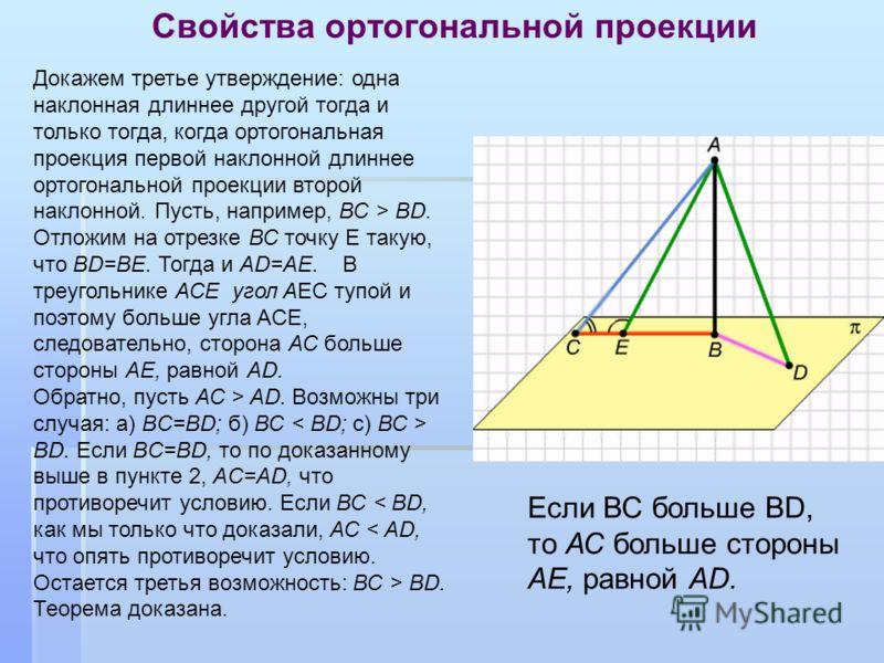 Свойства ортогональной проекции Докажем третье утверждение: одна наклонная длиннее другой тогда и только тогда, когда ортогональная проекция первой наклонной длиннее ортогональной проекции второй наклонной. Пусть, например, ВС > BD. Отложим на отрезк