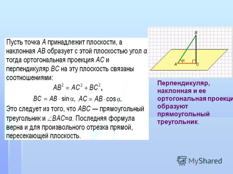 Перпендикуляр, наклонная и ее ортогональная проекция образуют прямоугольный треугольник.