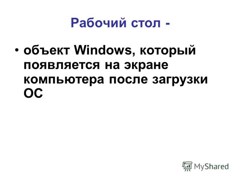 Рабочий стол - объект Windows, который появляется на экране компьютера после загрузки ОС