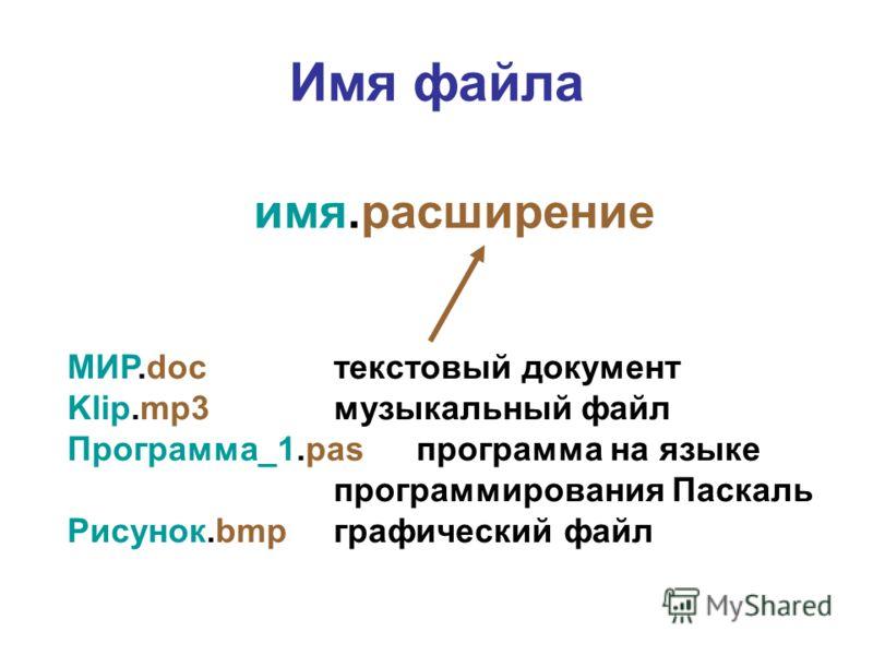 Имя файла имя.расширение МИР.docтекстовый документ Klip.mp3музыкальный файл Программа_1.pasпрограмма на языке программирования Паскаль Рисунок.bmpграфический файл