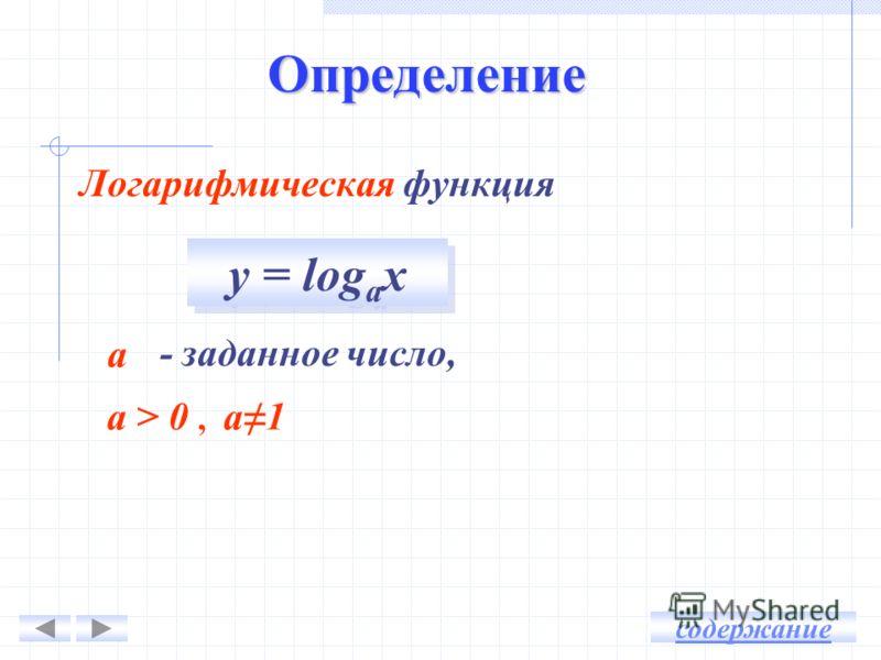 Определение Логарифмическая функция - заданное число, а а > 0, а1 содержание у = log а х