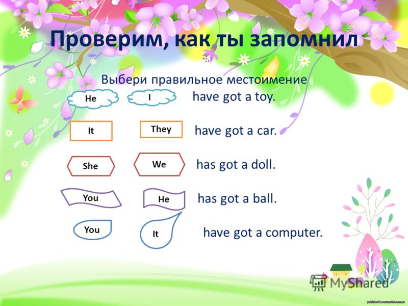 Проверим, как ты запомнил Выбери правильное местоимение have got a toy. have got a car. has got a doll. has got a ball. have got a computer. He I It They She We You He You It