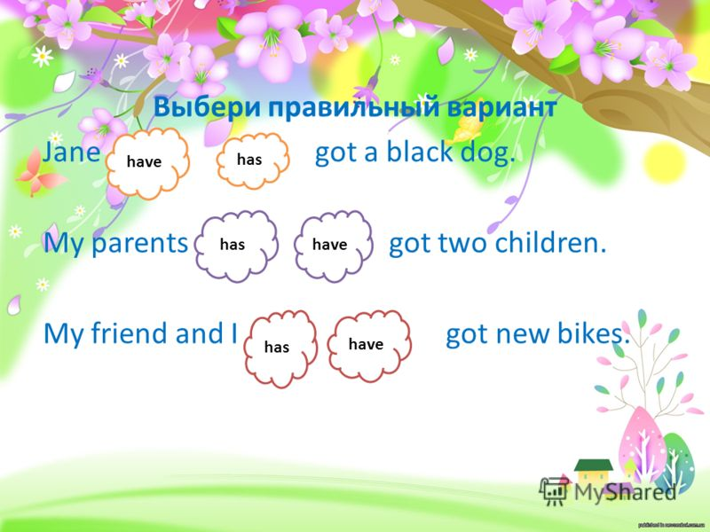 Выбери правильный вариант Jane got a black dog. My parents got two children. My friend and I got new bikes. have has have has have