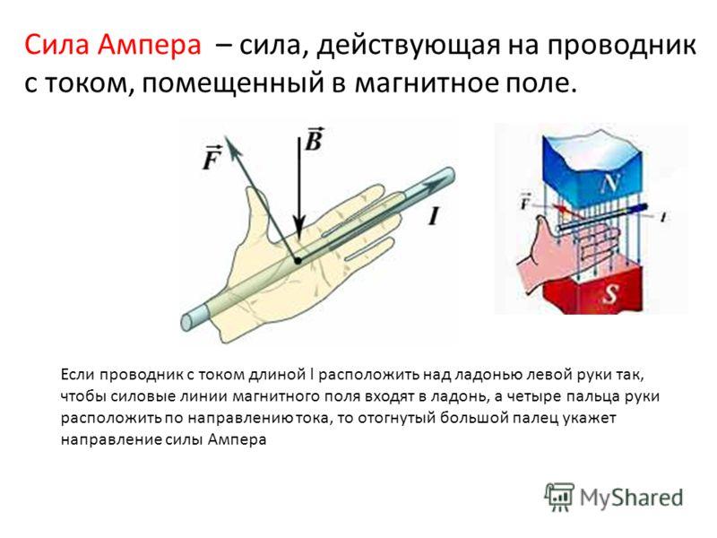 Сила Ампера – сила, действующая на проводник с током, помещенный в магнитное поле. Если проводник с током длиной l расположить над ладонью левой руки так, чтобы силовые линии магнитного поля входят в ладонь, а четыре пальца руки расположить по направ