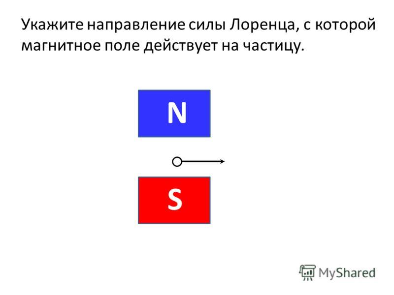 Укажите направление силы Лоренца, с которой магнитное поле действует на частицу.