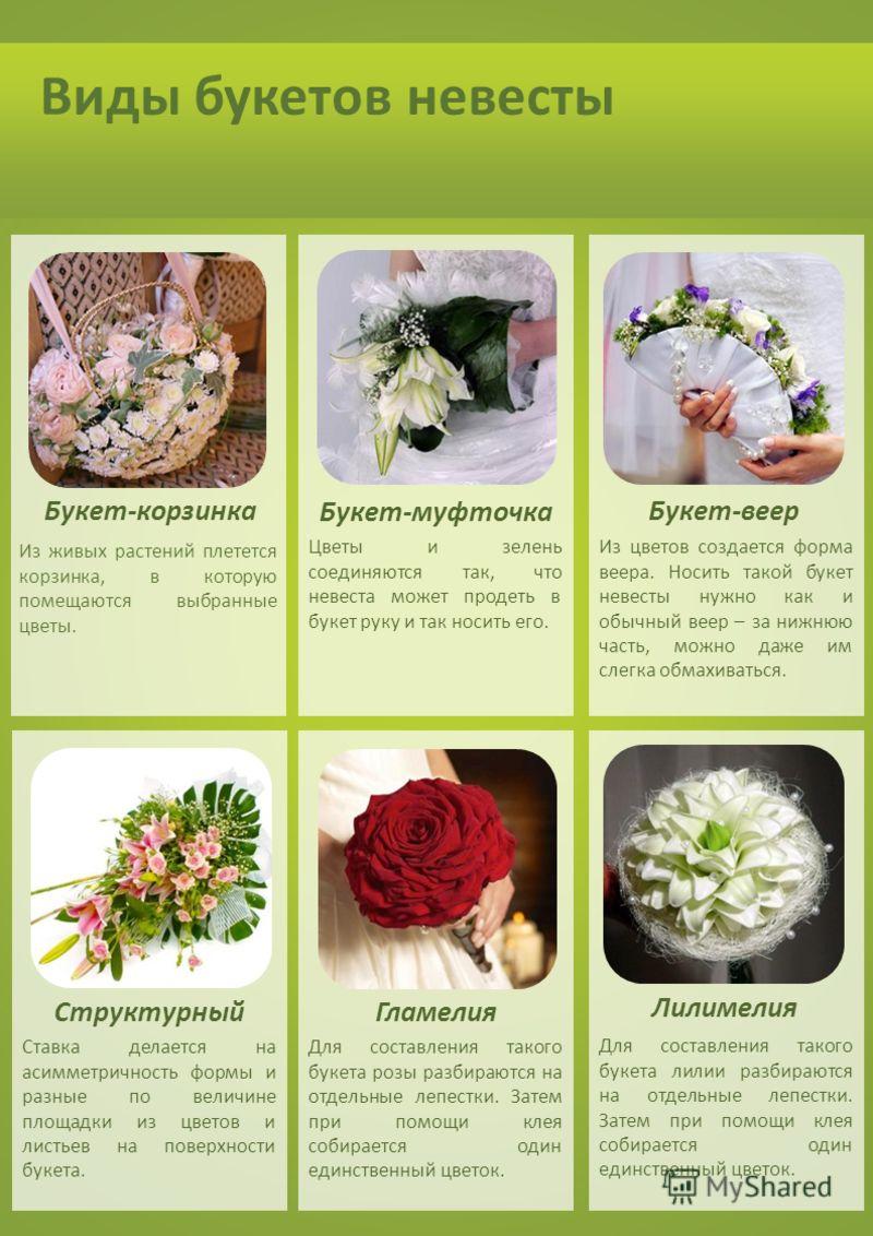 Виды букетов невесты Лилимелия ГламелияСтруктурный Букет-веер Букет-муфточка Для составления такого букета лилии разбираются на отдельные лепестки. Затем при помощи клея собирается один единственный цветок. Для составления такого букета розы разбираю