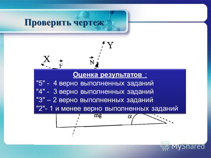 Проверить чертеж Оценка результатов : 5 - 4 верно выполненных заданий 4 - 3 верно выполненных заданий 3 – 2 верно выполненных заданий 2- 1 и менее верно выполненных заданий