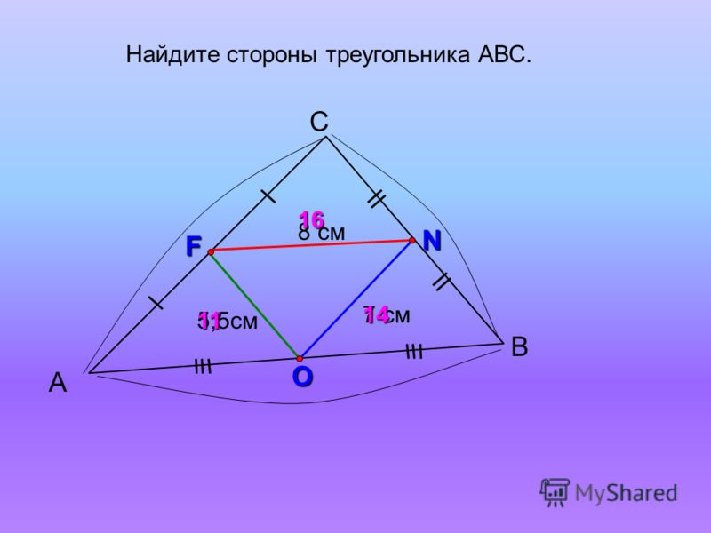 А С В 7 см F N O 14 Найдите стороны треугольника АВС. 8 см 5,5см 16 11