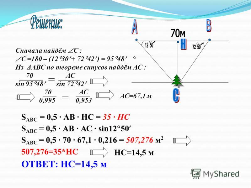Сначала найдём С : С =180 – (12 30 + 72 42 ) = 95 48 Из ΔАВС по теореме синусов найдём АС : 70 АС sin 95 48 sin 72 42 S АВС = 0,5 · АВ · НС = 35 · НС S АВС = 0,5 · АВ · АС · sin12 50 S ABC = 0,5 · 70 · 67,1 · 0,216 = 507,276 м 2 507,276=35*НС ОТВЕТ: