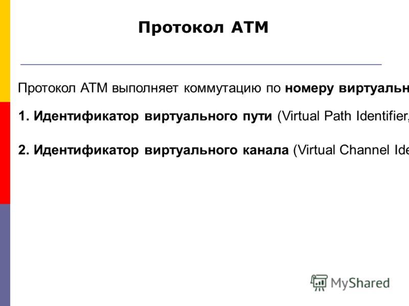 Протокол ATM выполняет коммутацию по номеру виртуального соединения, который в технологии ATM разбит на две части: 1.Идентификатор виртуального пути (Virtual Path Identifier, VPI); 2.Идентификатор виртуального канала (Virtual Channel Identifier, VCI)