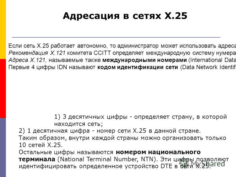 Если сеть Х.25 работает автономно, то администратор может использовать адреса любой длины (16 байт) и назначать адресам произвольные значения. Рекомендация Х.121 комитета CCITT определяет международную систему нумерации адресов для сетей передачи дан