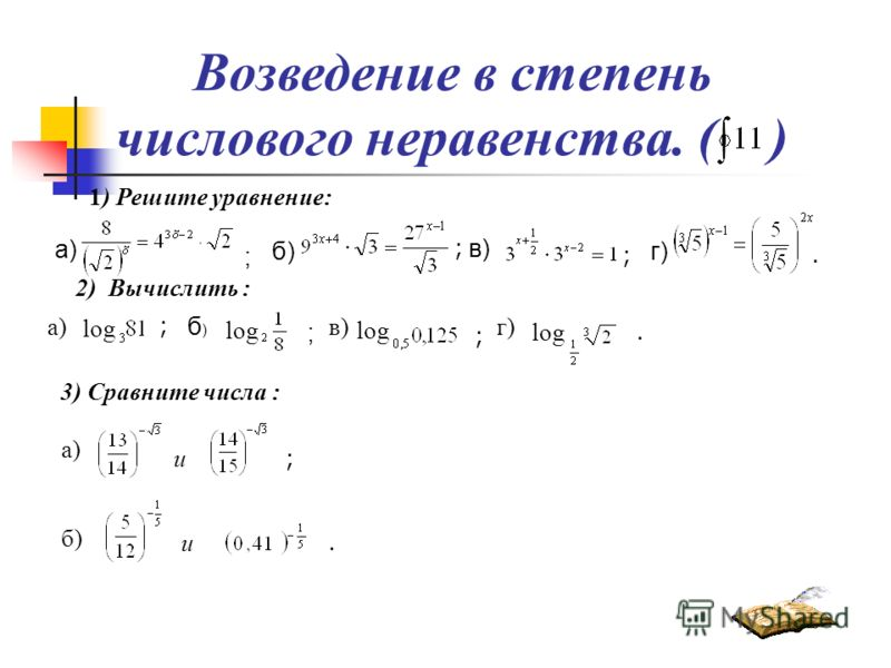 Возведение в степень числового неравенства. ( ) 1) Решите уравнение: а) ; ; б) г) в) ; ; ; 3) Сравните числа :. а) б)б) ; ; в). 2) Вычислить : а) г). log и б) и