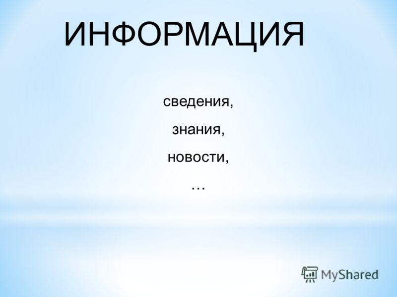 ИНФОРМАЦИЯ сведения, знания, новости, …