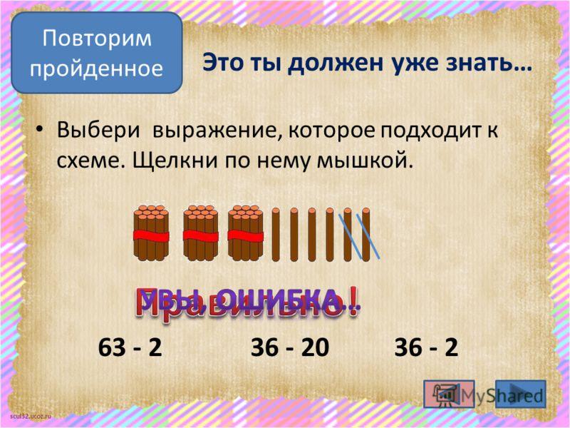 scul32.ucoz.ru Это ты должен уже знать… Выбери выражение, которое подходит к схеме. Щелкни по нему мышкой. 36 - 236 - 20 Повторим пройденное 63 - 2