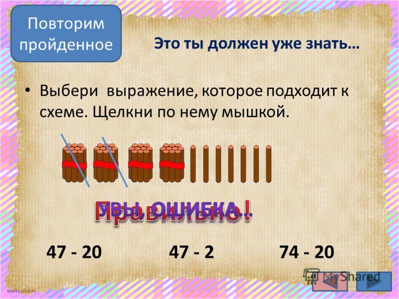 scul32.ucoz.ru Это ты должен уже знать… Выбери выражение, которое подходит к схеме. Щелкни по нему мышкой. 47 - 2047 - 2 Повторим пройденное 74 - 20