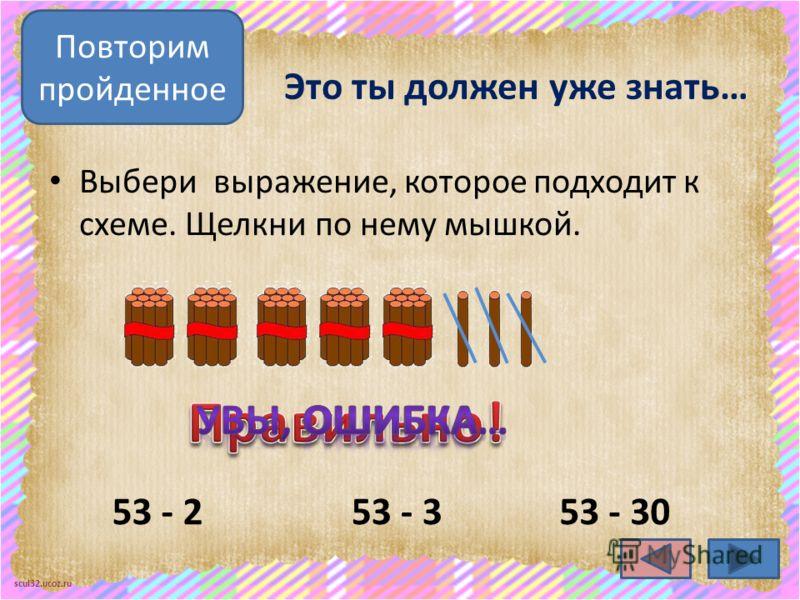 scul32.ucoz.ru Это ты должен уже знать… Выбери выражение, которое подходит к схеме. Щелкни по нему мышкой. 53 - 353 - 2 Повторим пройденное 53 - 30