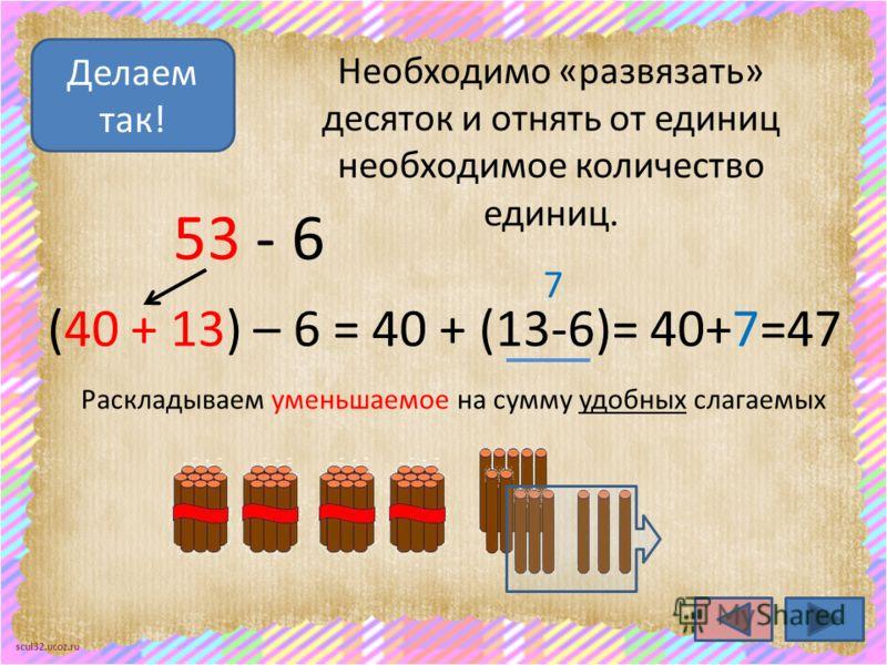 scul32.ucoz.ru Необходимо «развязать» десяток и отнять от единиц необходимое количество единиц. Делаем так! 53 - 6 (40 + 13) – 6 = 40 + (13-6)= 40+7=47 7 Раскладываем уменьшаемое на сумму удобных слагаемых