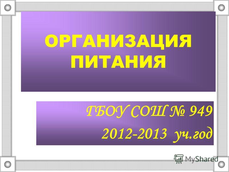 ОРГАНИЗАЦИЯ ПИТАНИЯ ГБОУ CОШ 949 2012-2013 уч.год