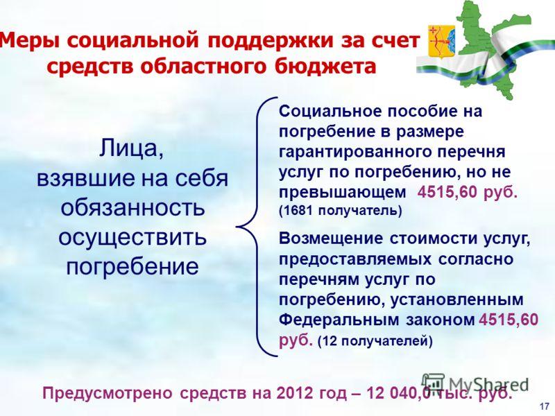 17 Меры социальной поддержки за счет средств областного бюджета Предусмотрено средств на 2012 год – 12 040,0 тыс. руб. Лица, взявшие на себя обязанность осуществить погребение Социальное пособие на погребение в размере гарантированного перечня услуг