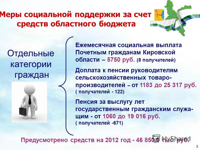 3 Меры социальной поддержки за счет средств областного бюджета Предусмотрено средств на 2012 год - 46 850,0 тыс. руб. Отдельные категории граждан Ежемесячная социальная выплата Почетным гражданам Кировской области – 5750 руб. (8 получателей) Доплата