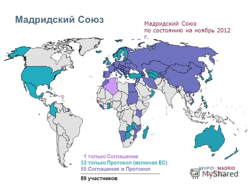 Мадридский Союз 1 только Соглашение 33 только Протокол (включая ЕС) 55 Соглашение и Протокол 89 участников Мадридский Союз по состоянию на ноябрь 2012 г.