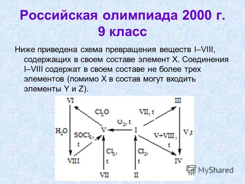 Российская олимпиада 2000 г. 9 класс Ниже приведена схема превращения веществ I–VIII, содержащих в своем составе элемент Х. Соединения I–VIII содержат в своем составе не более трех элементов (помимо Х в состав могут входить элементы Y и Z).