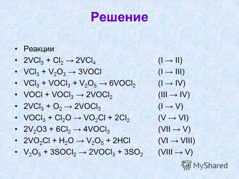 Решение Реакции 2VCl 3 + Cl 2 2VCl 4 (I II) VCl 3 + V 2 O 3 3VOCl (I III) VCl 3 + VOCl 3 + V 2 O 5 6VOCl 2 (I IV) VOCl + VOCl 3 2VOCl 2 (III IV) 2VCl 3 + O 2 2VOCl 3 (I V) VOCl 3 + Cl 2 O VO 2 Cl + 2Cl 2 (V VI) 2V 2 O3 + 6Cl 2 4VOCl 3 (VII V) 2VO 2 C
