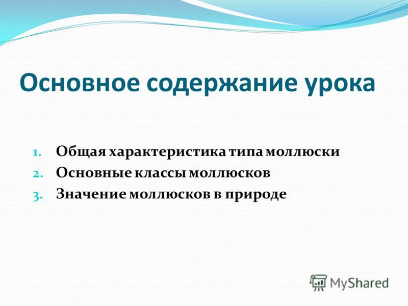 Основное содержание урока 1. Общая характеристика типа моллюски 2. Основные классы моллюсков 3. Значение моллюсков в природе