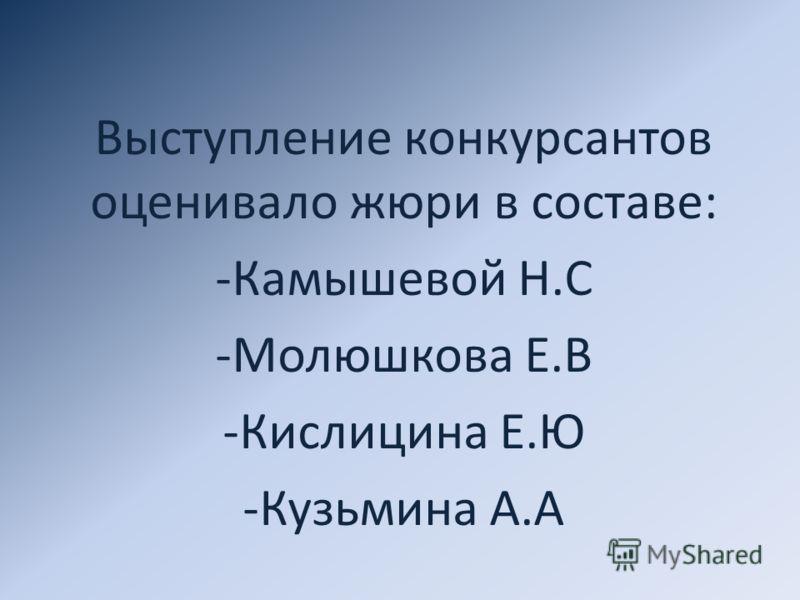 Выступление конкурсантов оценивало жюри в составе: -Камышевой Н.С -Молюшкова Е.В -Кислицина Е.Ю -Кузьмина А.А