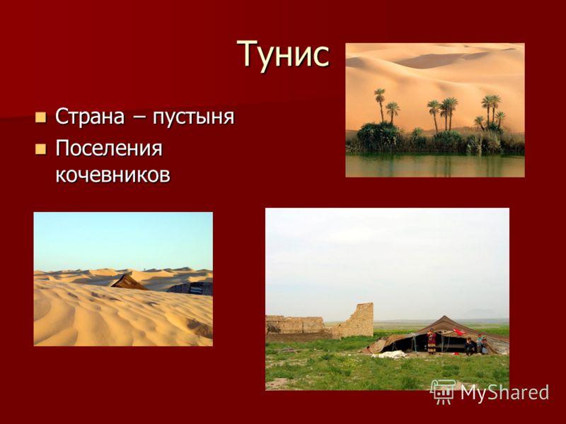 Тунис Страна – пустыня Страна – пустыня Поселения кочевников Поселения кочевников
