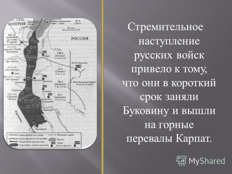 Стремительное наступление русских войск привело к тому, что они в короткий срок заняли Буковину и вышли на горные перевалы Карпат.