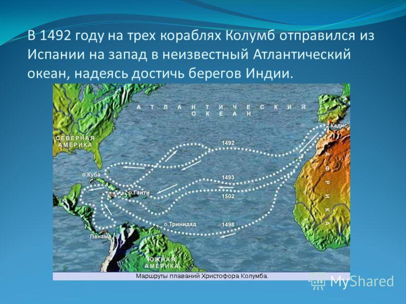 В 1492 году на трех кораблях Колумб отправился из Испании на запад в неизвестный Атлантический океан, надеясь достичь берегов Индии.