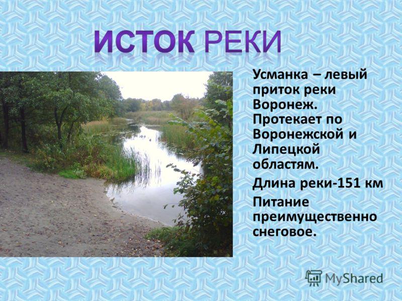 Началом реки является ручеёк, лежащий недалеко от деревни Московки. Из низинки, заросшей камышом, вытекает ручеёк. Так зарождается речка Усманка.