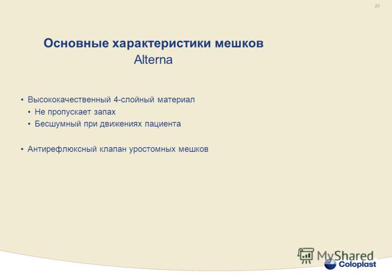 29 Основные характеристики мешков Alterna Высококачественный 4-слойный материал Не пропускает запах Бесшумный при движениях пациента Антирефлюксный клапан уростомных мешков