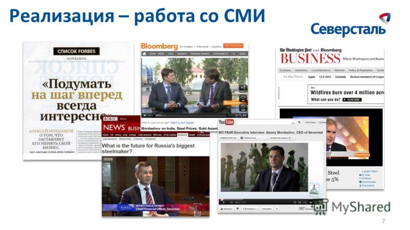 Реализация – работа со СМИ 7