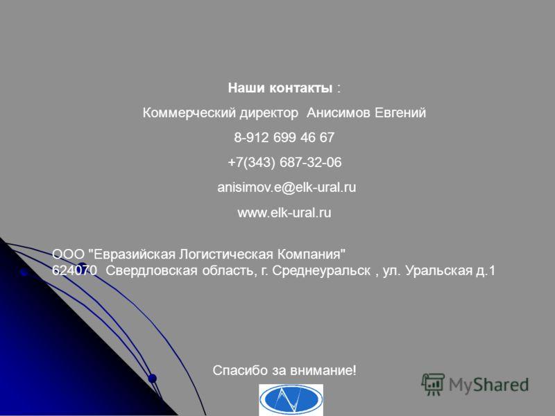 Наши контакты : Коммерческий директор Анисимов Евгений 8-912 699 46 67 +7(343) 687-32-06 anisimov.e@elk-ural.ru www.elk-ural.ru ООО