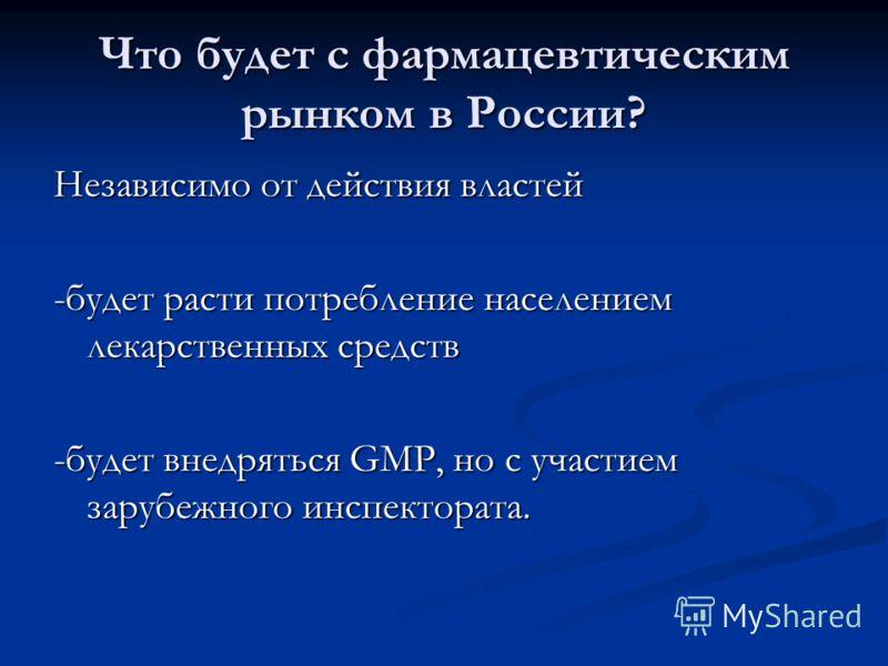 Что будет с фармацевтическим рынком в России? Независимо от действия властей -будет расти потребление населением лекарственных средств -будет внедряться GMP, но с участием зарубежного инспектората.
