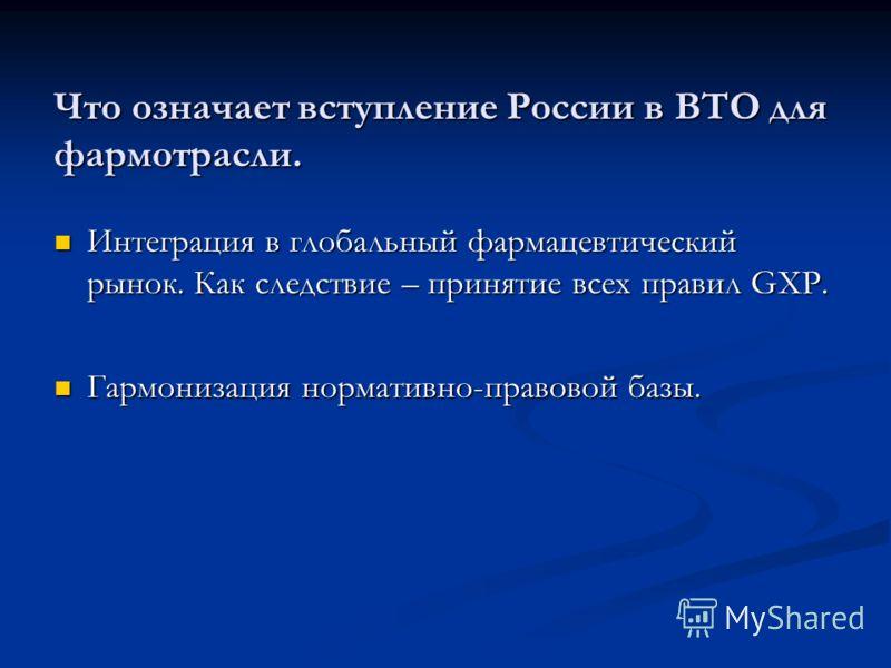 Что означает вступление России в ВТО для фармотрасли. Интеграция в глобальный фармацевтический рынок. Как следствие – принятие всех правил GXP. Интеграция в глобальный фармацевтический рынок. Как следствие – принятие всех правил GXP. Гармонизация нор