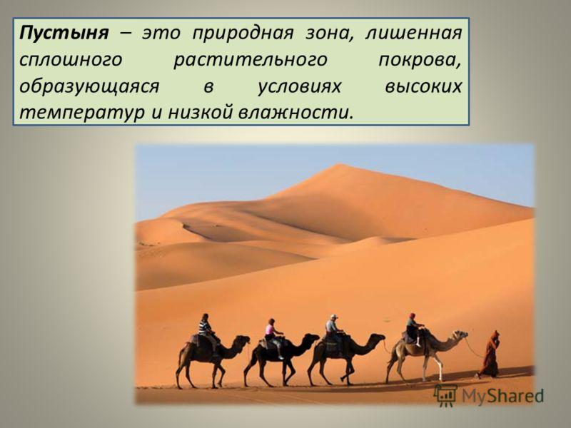 Пустыня – это природная зона, лишенная сплошного растительного покрова, образующаяся в условиях высоких температур и низкой влажности.
