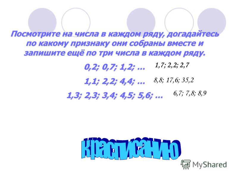 Посмотрите на числа в каждом ряду, догадайтесь по какому признаку они собраны вместе и запишите ещё по три числа в каждом ряду. 0,2; 0,7; 1,2; … 1,1; 2,2; 4,4; … 1,3; 2,3; 3,4; 4,5; 5,6; … 1,7; 2,2; 2,7 8,8; 17,6; 35,2 6,7; 7,8; 8,9