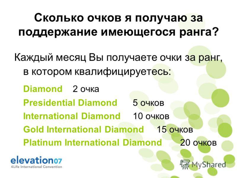 Сколько очков я получаю за поддержание имеющегося ранга? Каждый месяц Вы получаете очки за ранг, в котором квалифицируетесь: Diamond 2 очка Presidential Diamond5 очков International Diamond10 очков Gold International Diamond15 очков Platinum Internat
