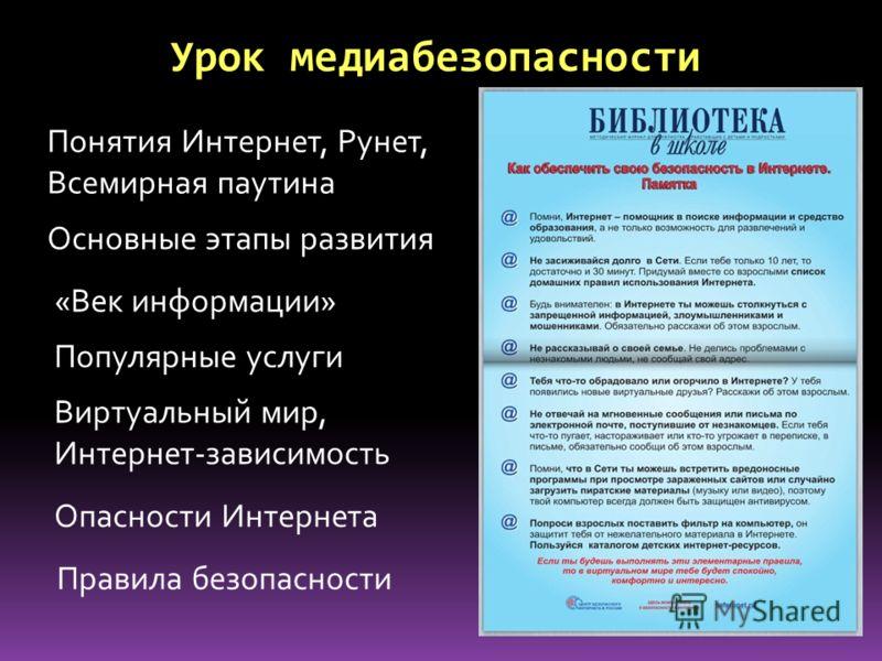 Урок медиабезопасности Понятия Интернет, Рунет, Всемирная паутина Основные этапы развития «Век информации» Популярные услуги Виртуальный мир, Интернет-зависимость Опасности Интернета Правила безопасности