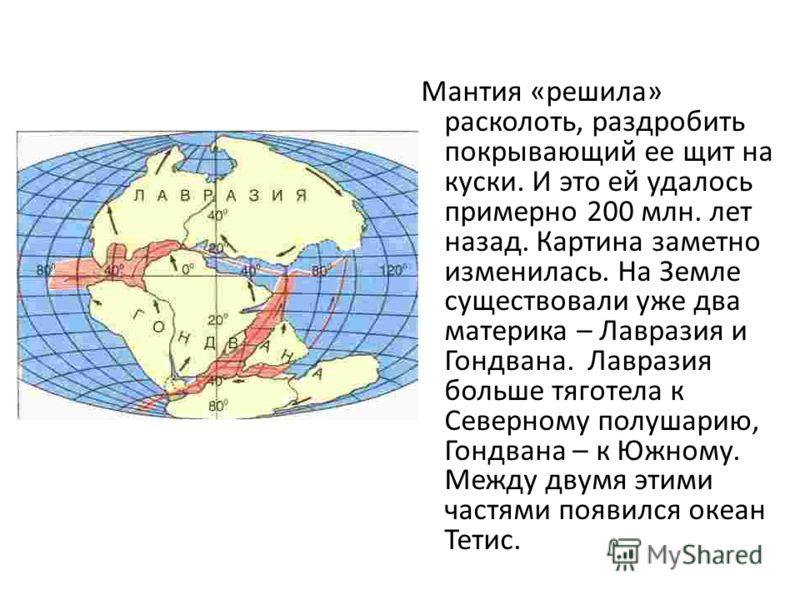 Мантия «решила» расколоть, раздробить покрывающий ее щит на куски. И это ей удалось примерно 200 млн. лет назад. Картина заметно изменилась. На Земле существовали уже два материка – Лавразия и Гондвана. Лавразия больше тяготела к Северному полушарию,