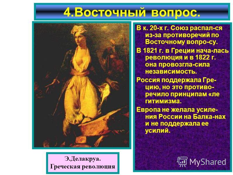 В к. 20-х г. Союз распал-ся из-за противоречий по Восточному вопро-су. В 1821 г. в Греции нача-лась революция и в 1822 г. она провозгла-сила независимость. Россия поддержала Гре- цию, но это противо- речило принципам «ле гитимизма. Европа не желала у