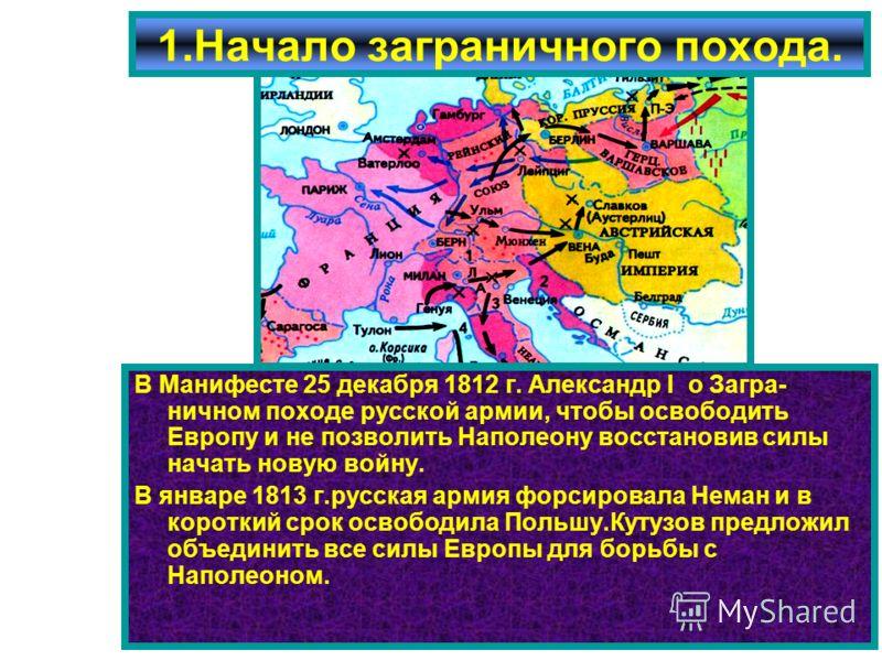 В Манифесте 25 декабря 1812 г. Александр I о Загра- ничном походе русской армии, чтобы освободить Европу и не позволить Наполеону восстановив силы начать новую войну. В январе 1813 г.русская армия форсировала Неман и в короткий срок освободила Польшу